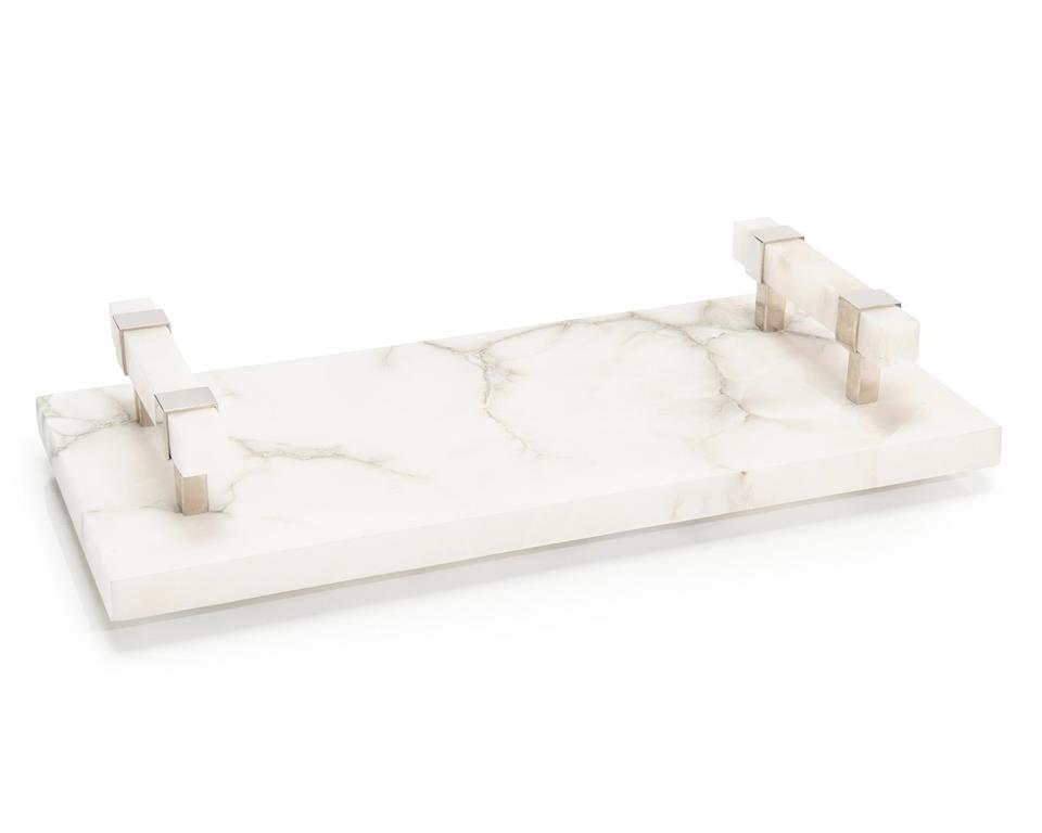 Alabaster Tray w/Polished Nickel Handles