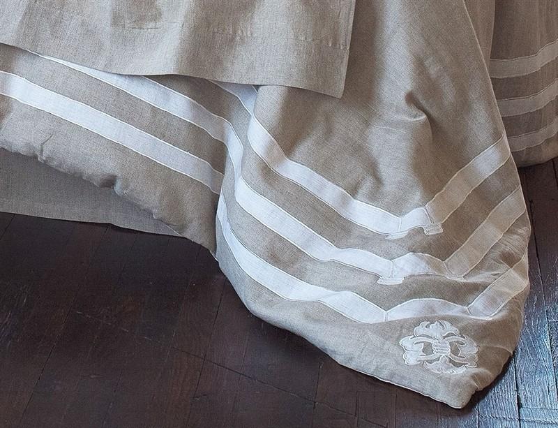 """Angie Natural/White Linen King Duvet (110x96"""")"""