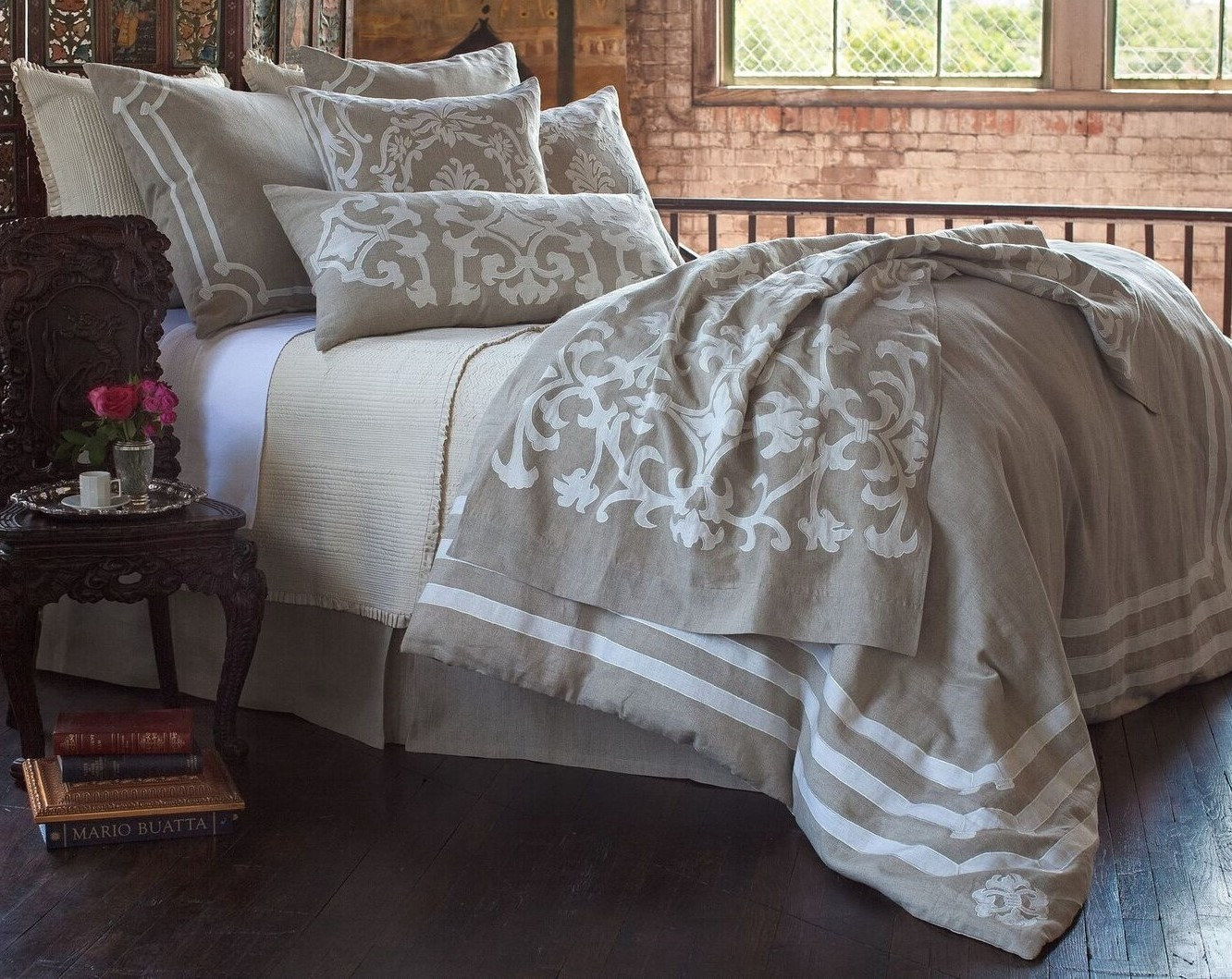 Angie Natural/White Linen European Luxury Bedding Collection