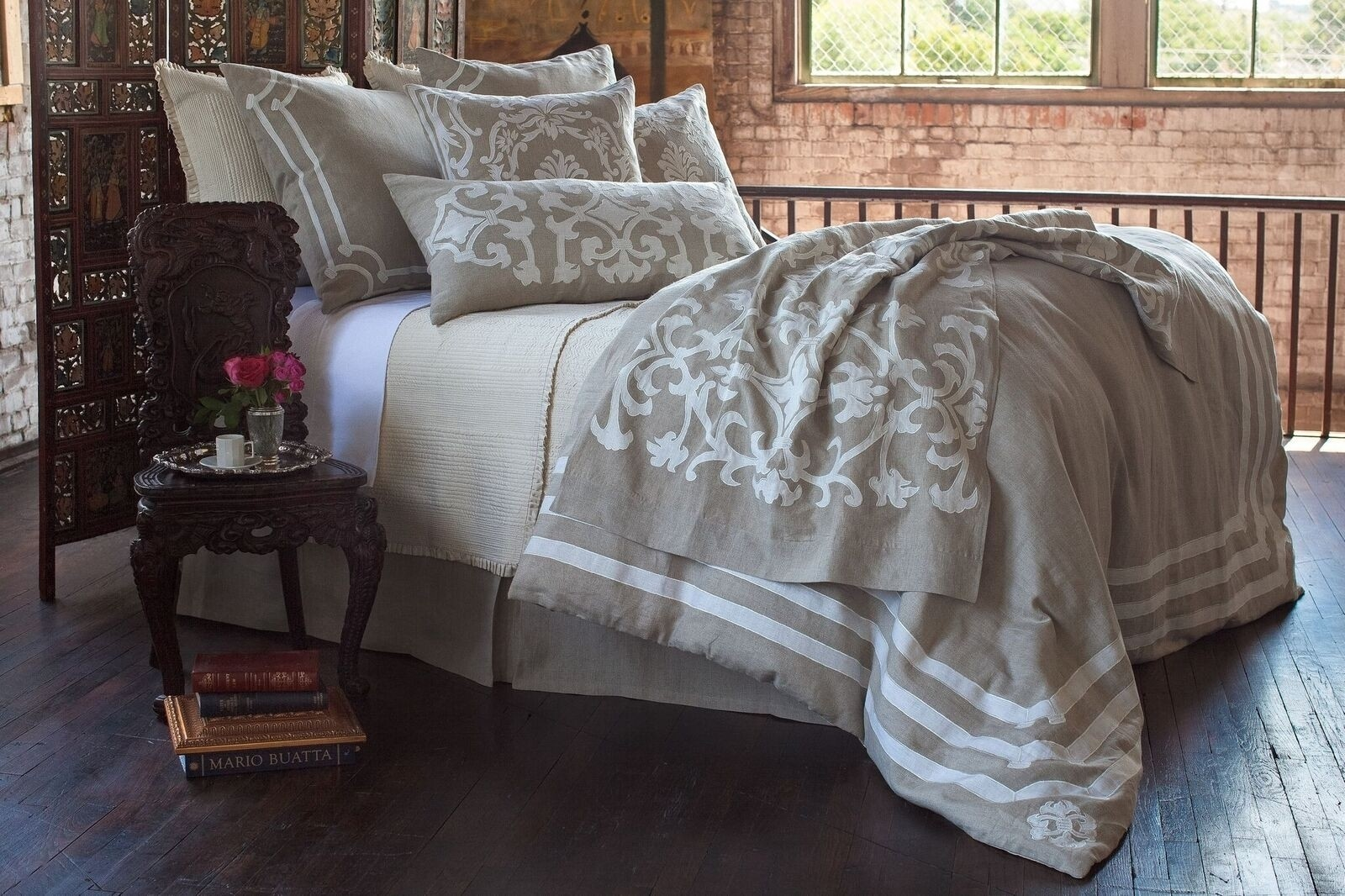 ANGIE NATURAL LINEN TAILORED BED SKIRT / 22X86