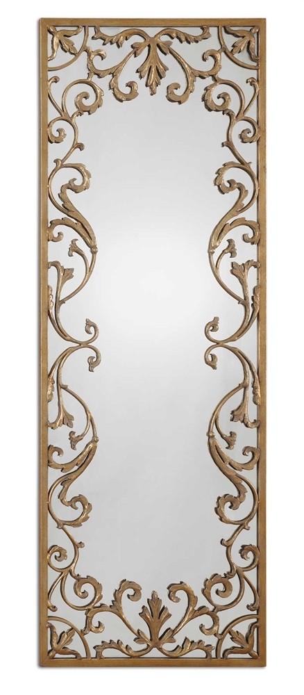 Apricena Decorative Mirror w/Antiqued Gold Leaf Border Design