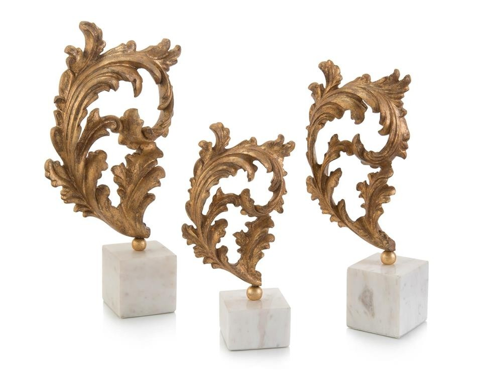 Baroque Gold Leaf on White Marble Base