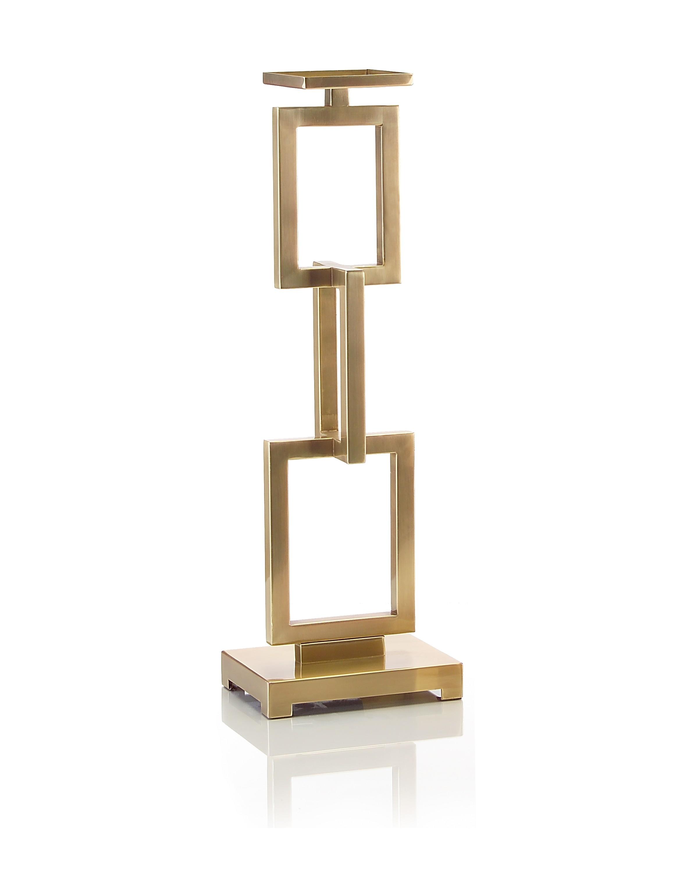 Warm Brass Interlinked Rectangles Candlestand, Lg