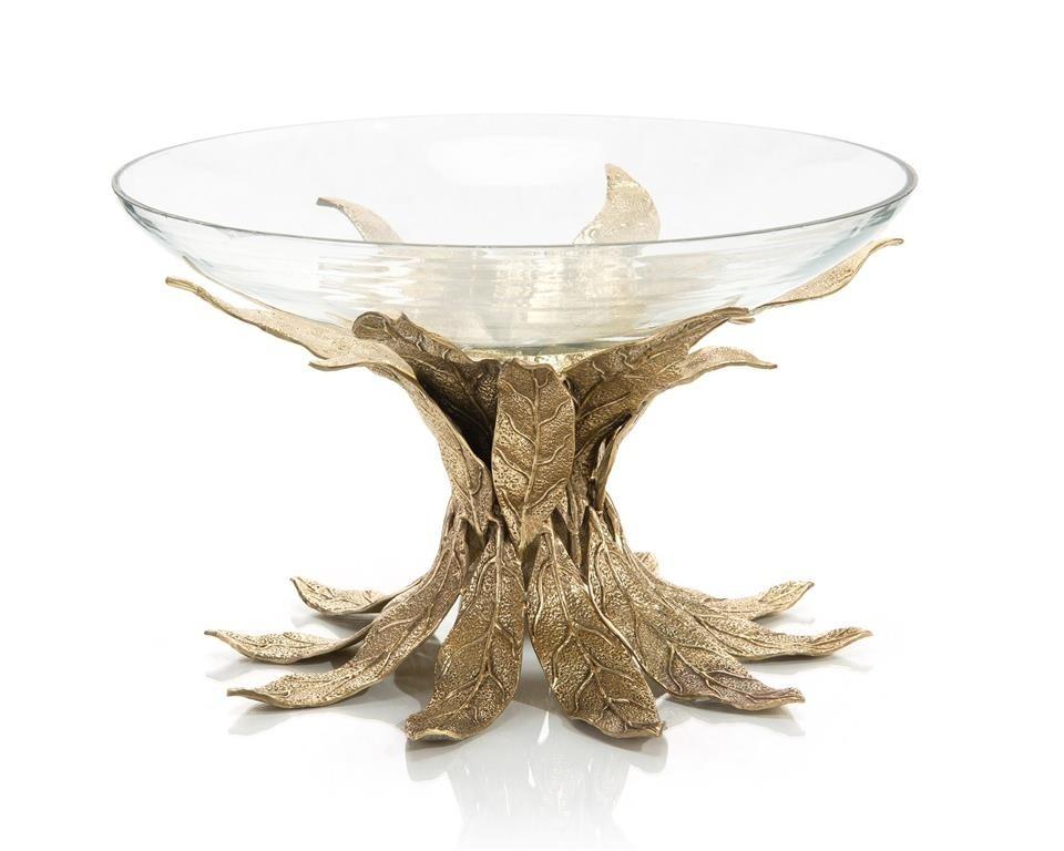 Cast Brass Sakura Leaves Base & Glass Bowl
