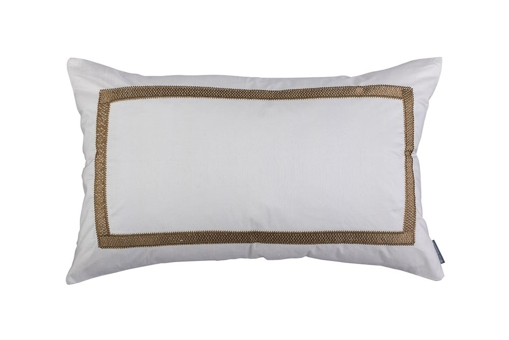 CAESAR LG. RECT. PILLOW IVORY SILK WITH GOLD BASKETWEAVE MACHINE EMBROIDERY 18X30