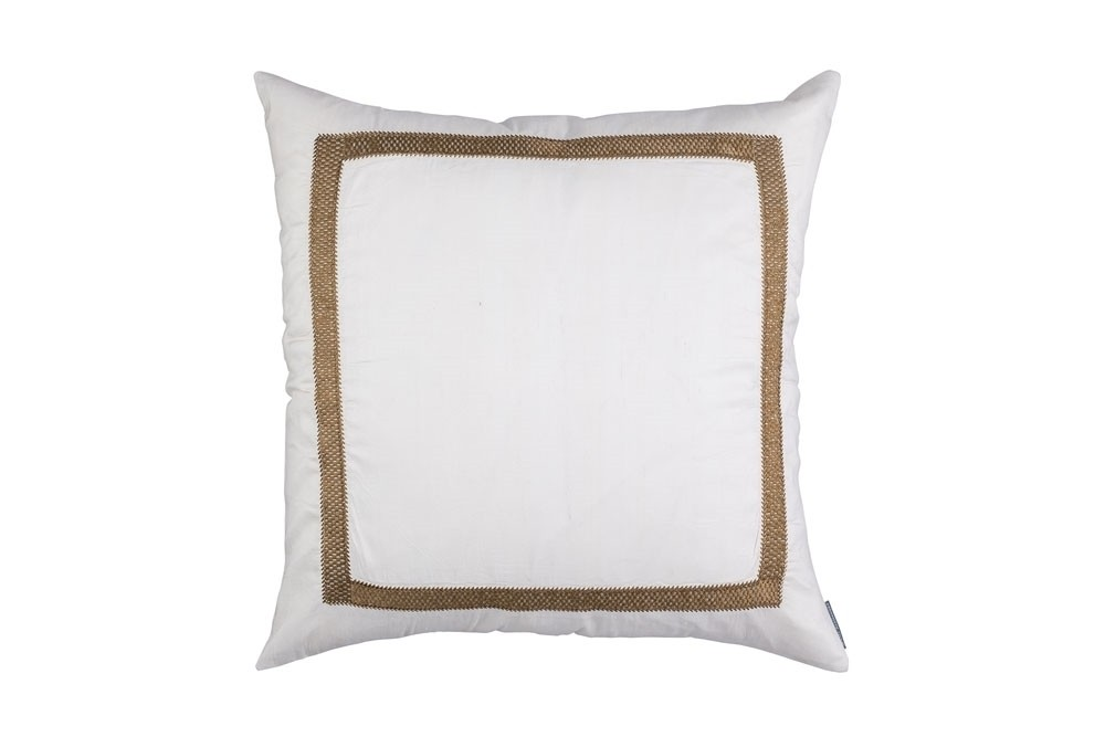 CAESAR SQ. PILLOW IVORY SILK WITH GOLD BASKETWEAVE MACHINE EMBROIDERY 24X24