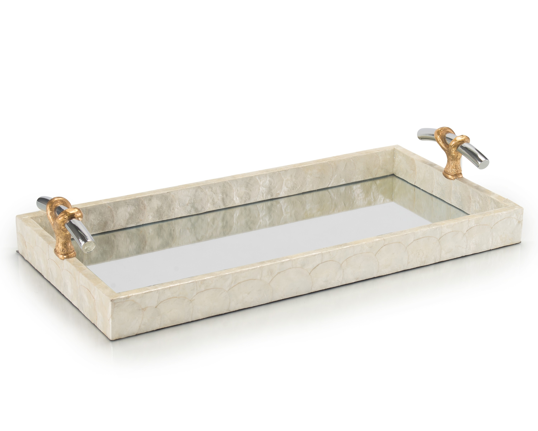Capiz Mirror Tray w/Nickel & Gold Handles