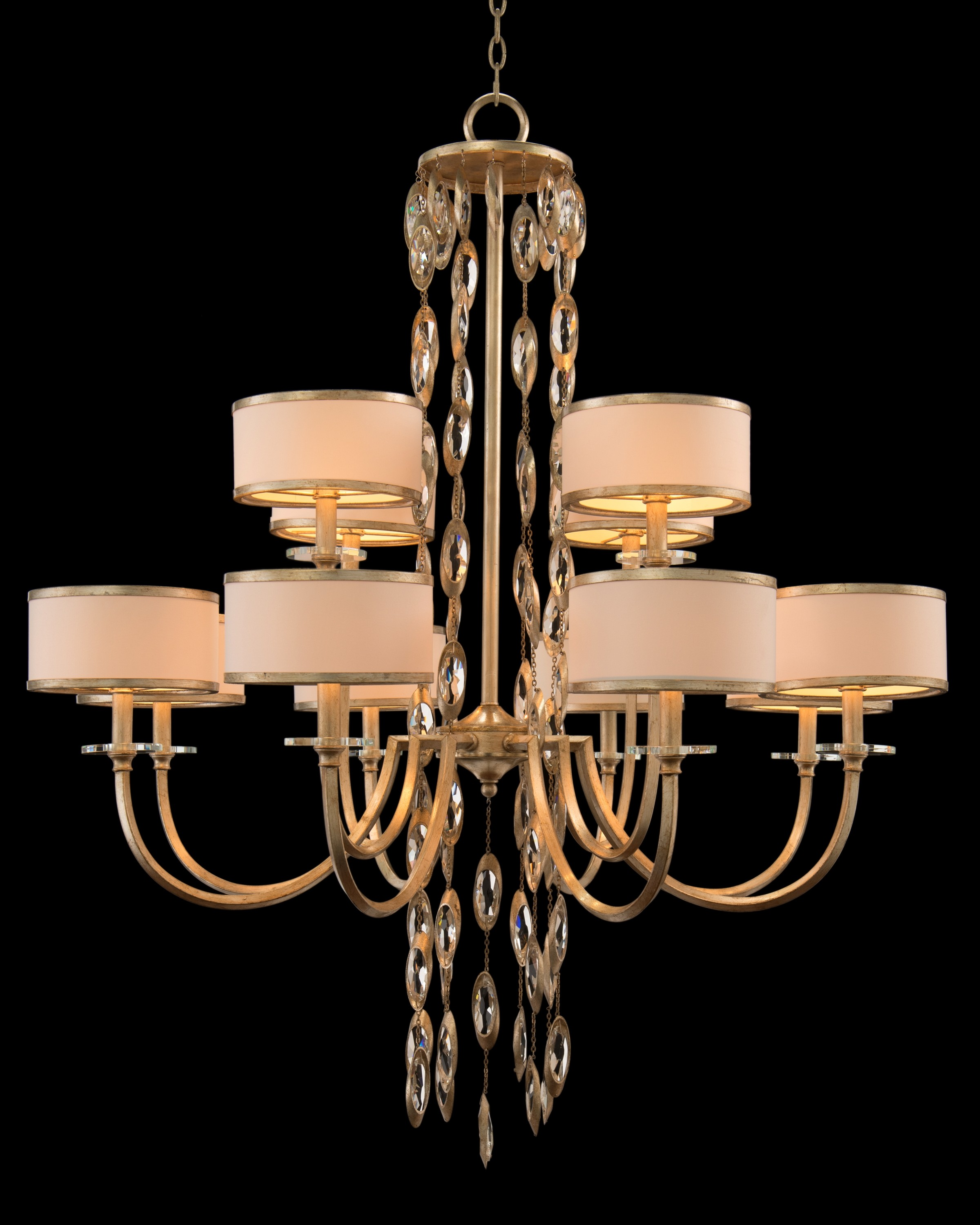 Counterpoint Twelve-Light Large Chandelier w/ White/Champagne Shades