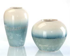 Cream and Blue Vases, Set/2
