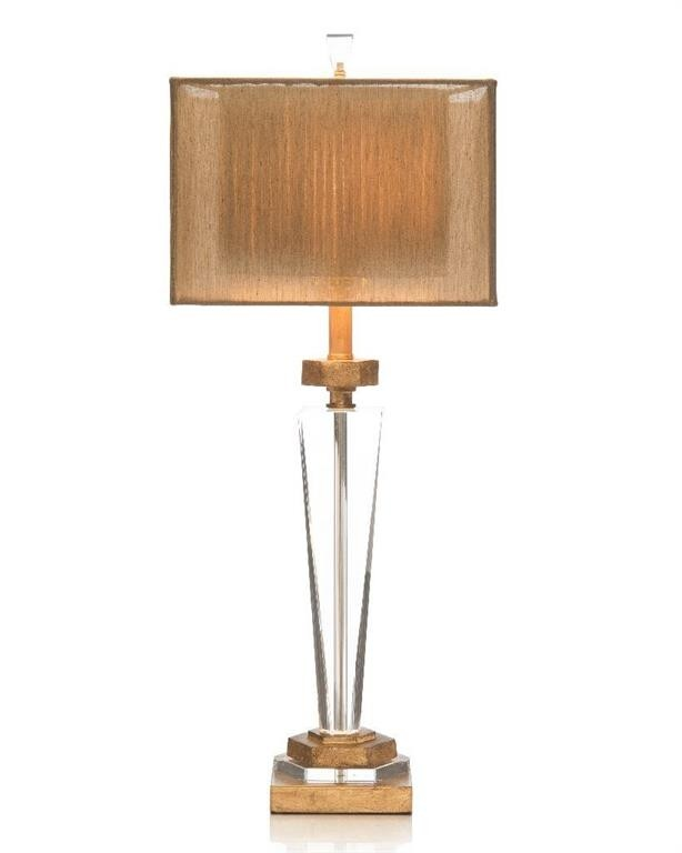 Tapered Crystal & Antique Brass Table Lamp