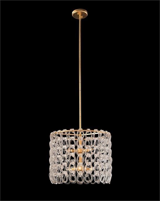 Designer Lighting Interlocking Crystal Chain 6-Light Pendant
