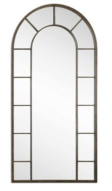 Dillingham Arched Decorative Mirror w/Aged Black Metal Rectangle Mirror Border