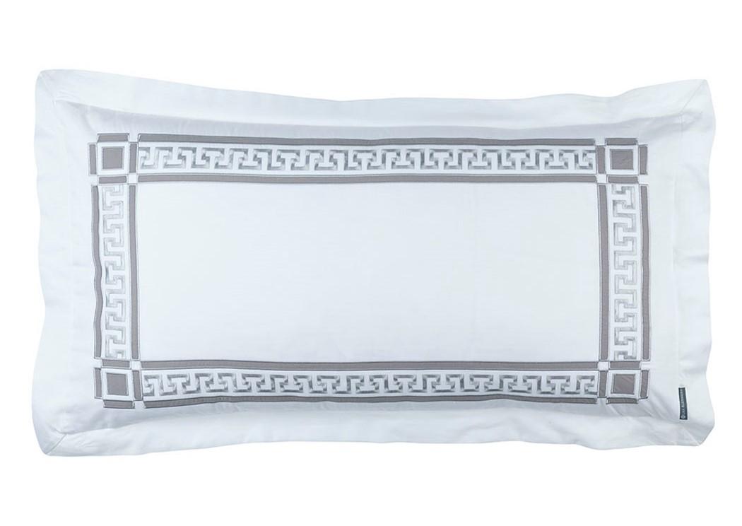DIMITRI KING PILLOW WHITE COTTON / PEWTER COTTON 20X36