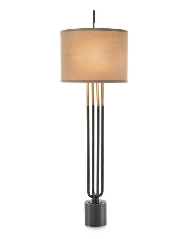 Four-Column Brass & Black Lamp on Black Base