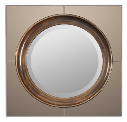 Gouveia Beveled Decorative Mirror with Antiqued Outer Mirrors and Heavily Antiqued Gold Center