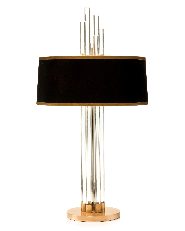 Graduating Crystal Column Designer Lamp w/Blk/Gold Shade