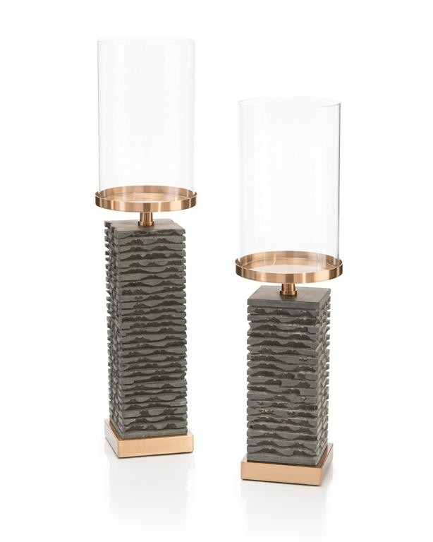 Gray Stacked Marble Candlesticks, Set/2