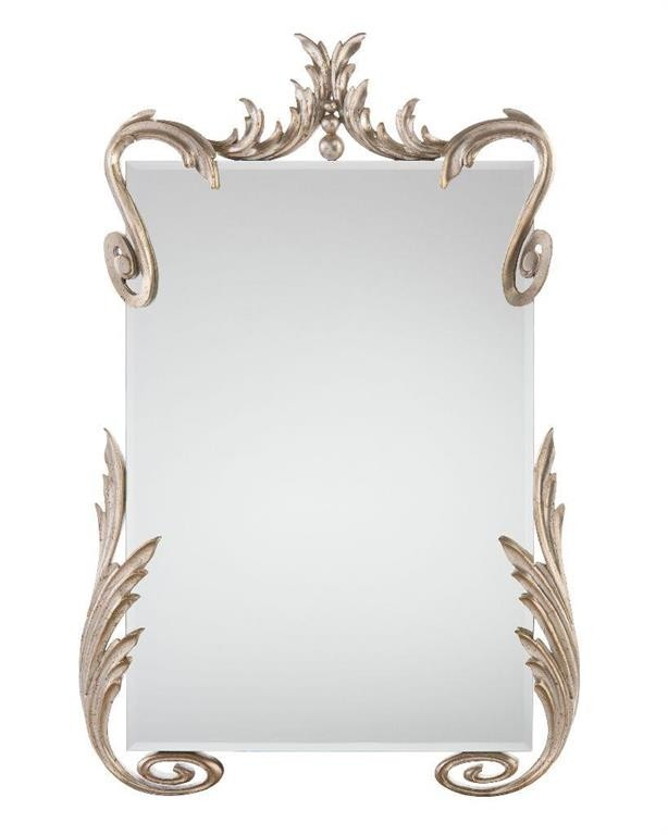 Hailey Beveled Mirror in Silver-Leaf Scrolled Detailed Oversized Mirror