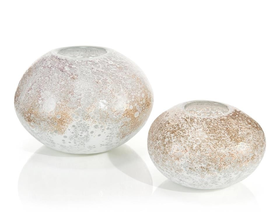 Iced Gold Metallic Vases, Set/2