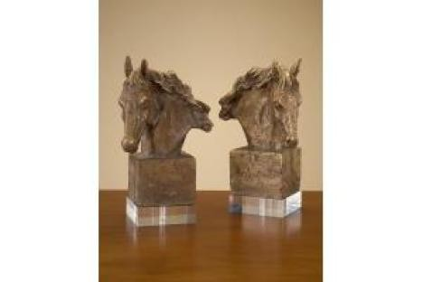 "14 x 9.5 x 5"" Set of Two Cast Horse Heads"