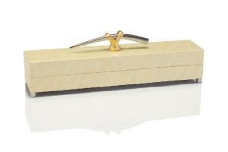 "7.5 x 5 x 24"" Cream Box w/Gold/Nickel Handle"