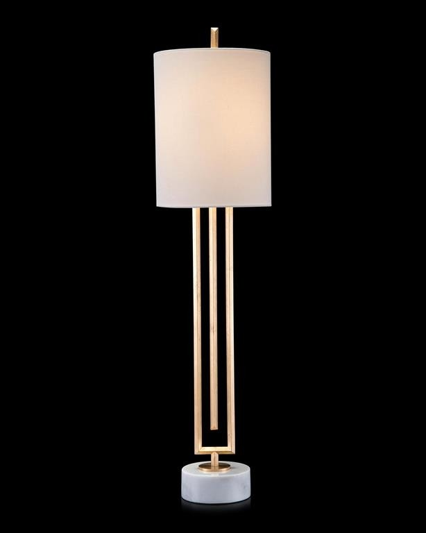 Labyrinth-Inspired Gold-Leaf Candlestick Lamp on Marble Base