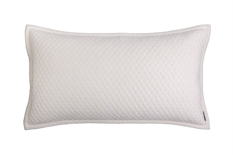 "LAURIE 1"" DIAMOND QUILTED KING PILLOW IVORY BASKETWEAVE 20X36"