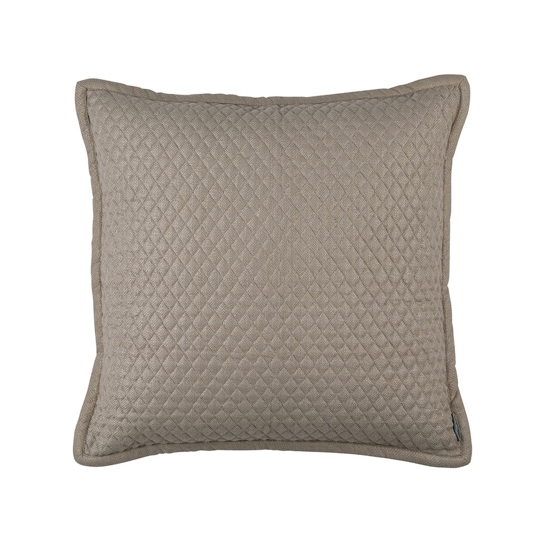 """LAURIE 1"""" DIAMOND QUILTED EURO PILLOW - STONE BASKETWEAVE 26X26"""