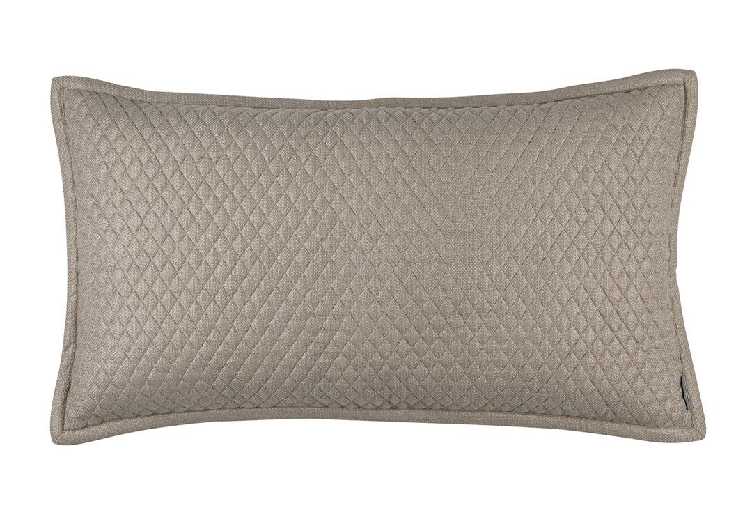 """LAURIE 1"""" DIAMOND QUILTED KING PILLOW STONE BASKETWEAVE 20X36"""