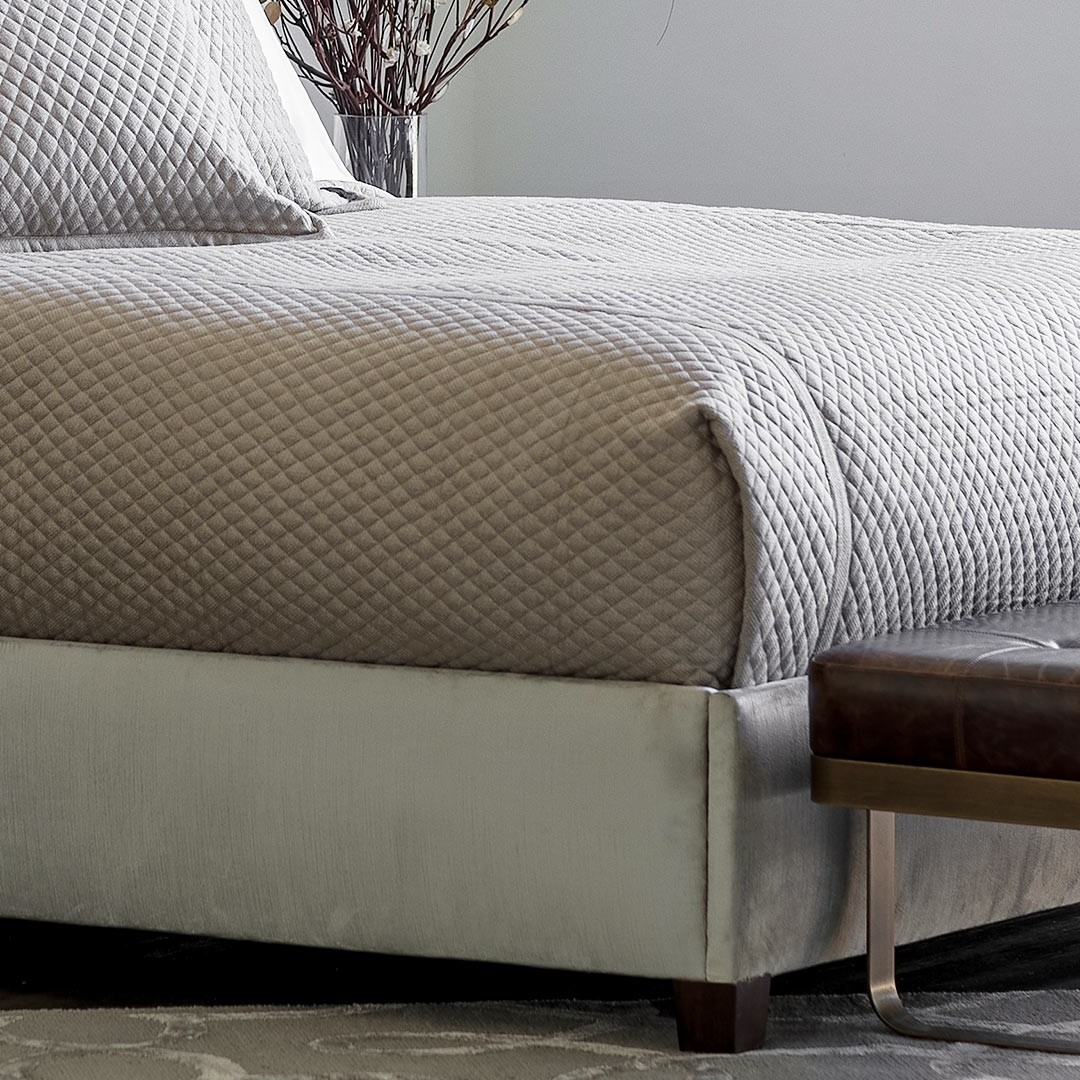 """LAURIE 1"""" DIAMOND QUILTED QUEEN COVERLET STONE BASKETWEAVE 96X98"""