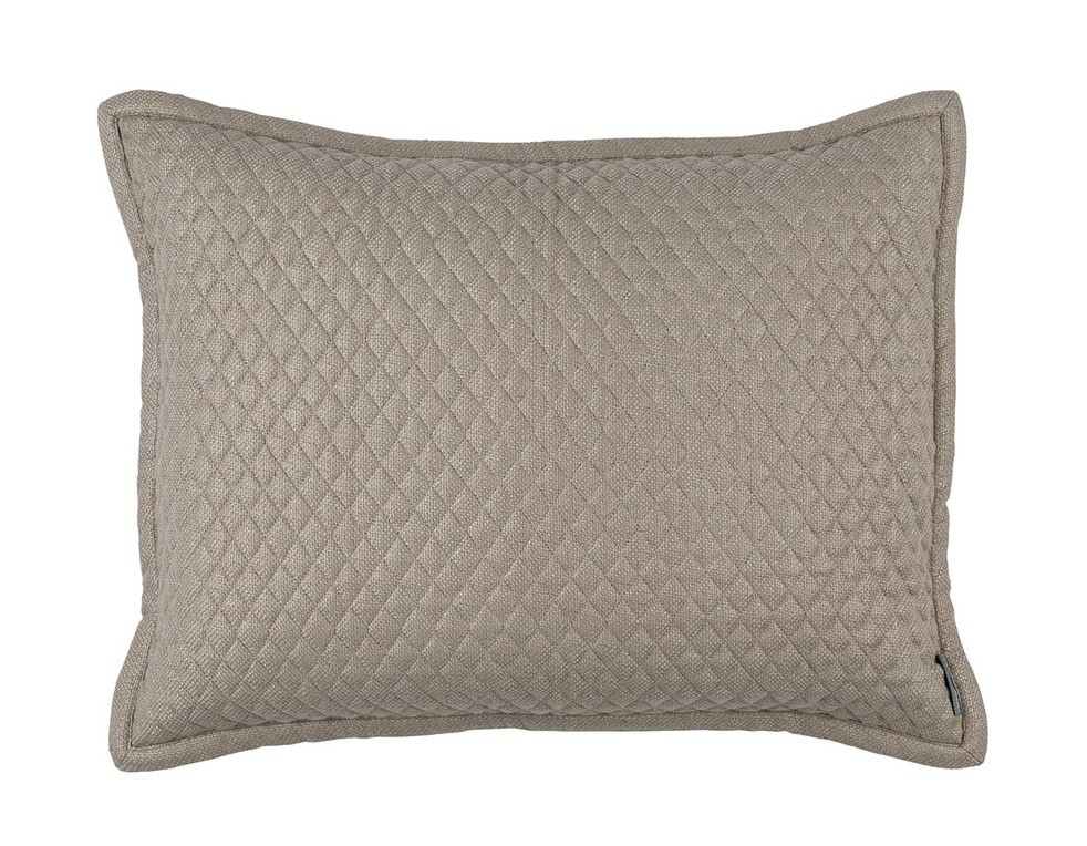 "LAURIE 1"" DIAMOND QUILTED STANDARD PILLOW STONE BASKETWEAVE 20X26"