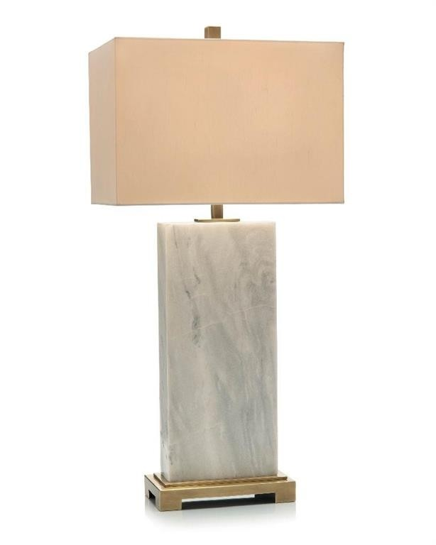 Marble Slab Designer Table Lamp with Rectangular Beige Shade