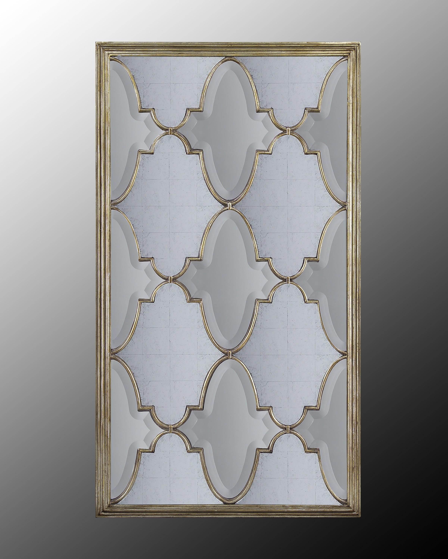 Michelle Venetian-Silver Oversized Mirror w/Eglomise & Beveled Panes