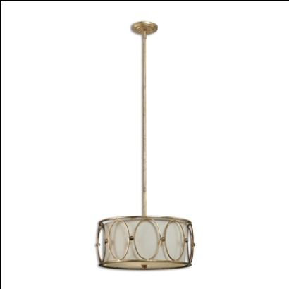 Ovala Antique Gold Three-Light Pendant with Beige Linen Shade