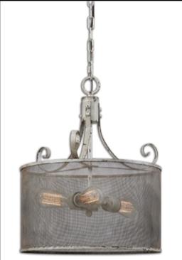 Pontoise Rustic Three-Light Pendant in Distressed Antique Ivory and Espresso Undertones