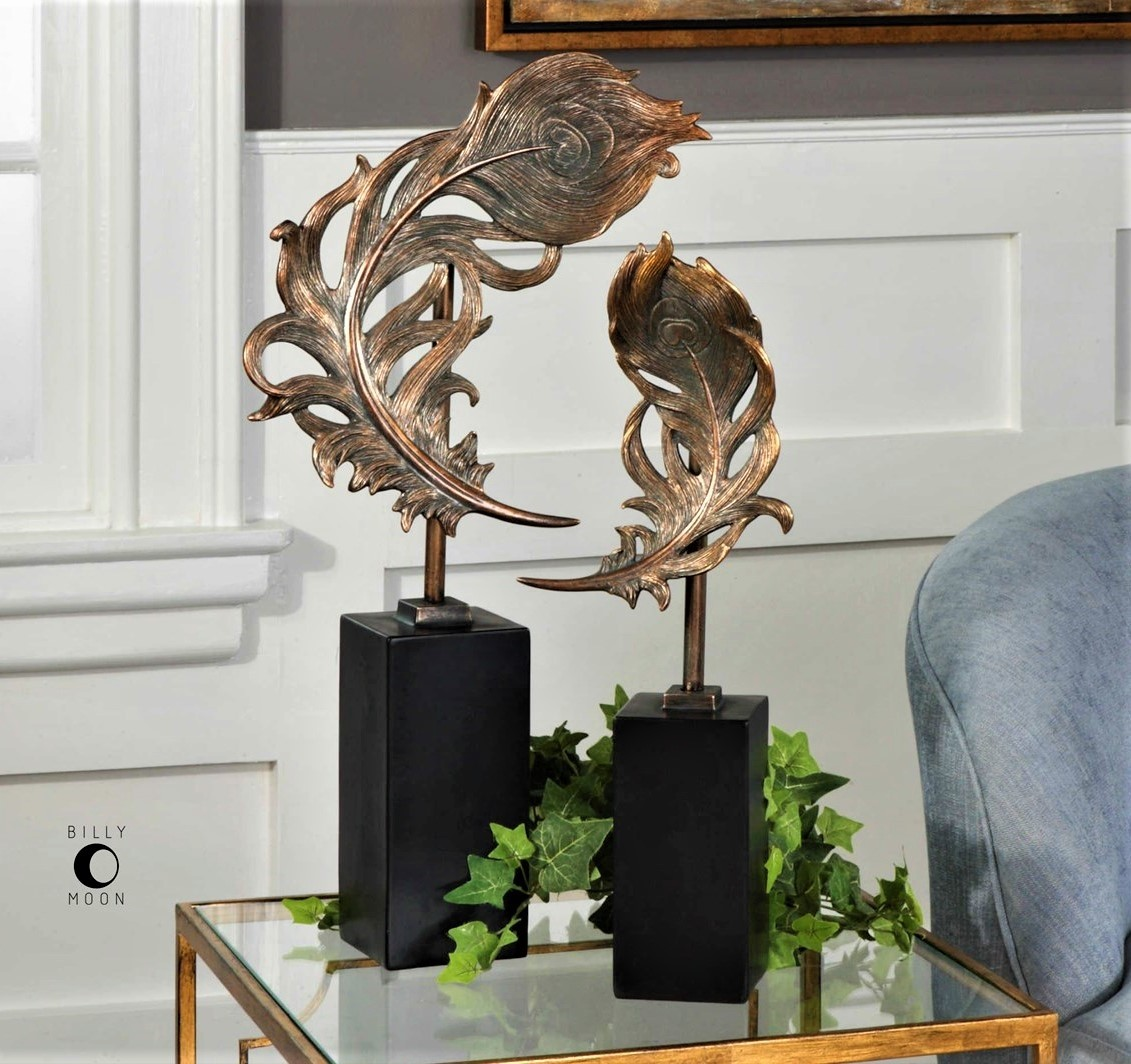 Quill Feather Sculptures, Set of 2