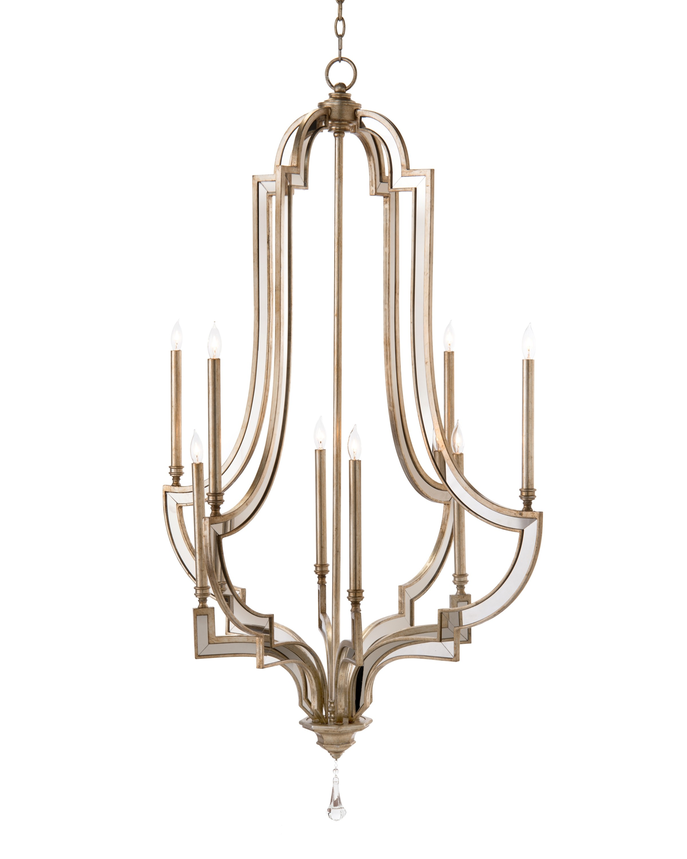 Eight-Light Large Chandelier in Antique Silver & Mirror Finish