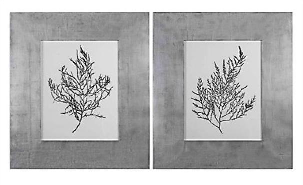 Silver Foil Algae Wall Art - Set/2