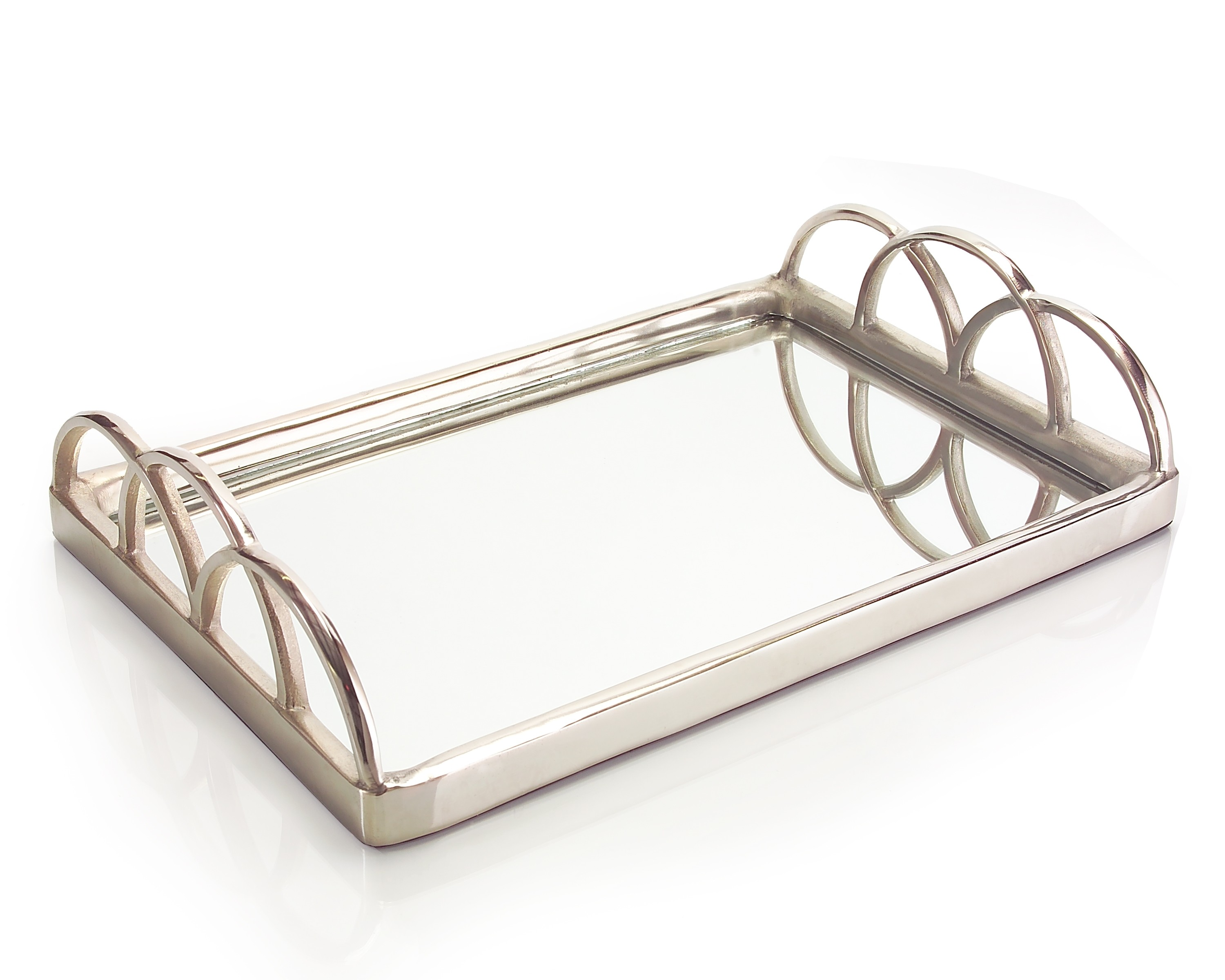 "5.5 x 24 x 15.5"" Sm Silver Mirrored Tray"
