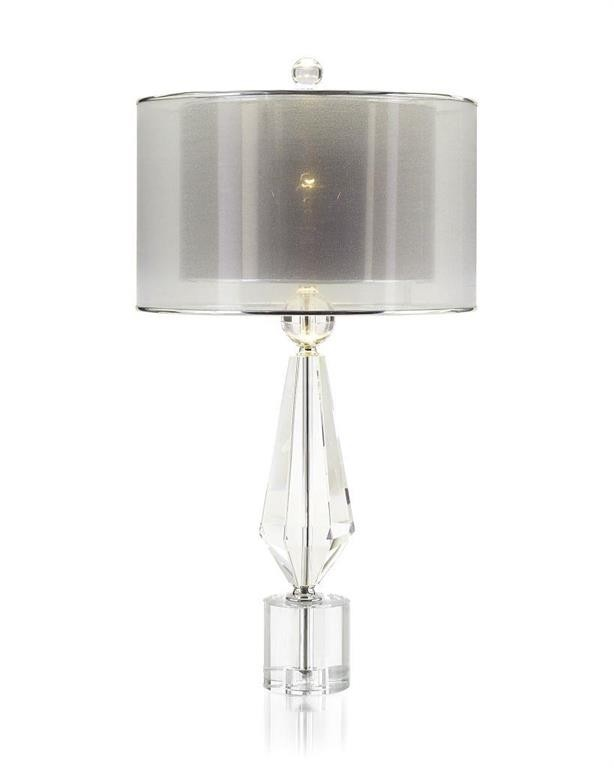 Sophisticated Crystal Lamp with Double Voile Shade