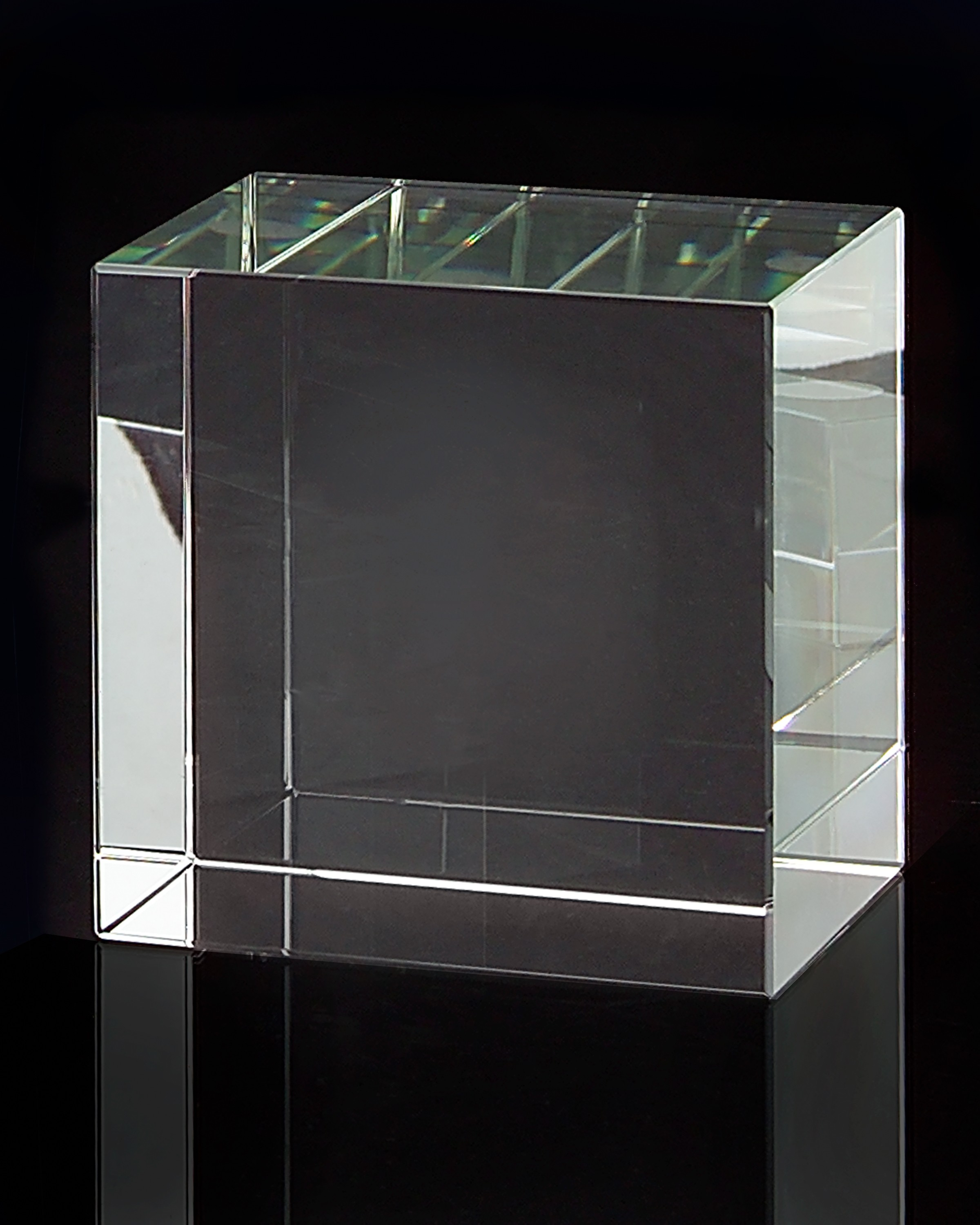 "4 x 5 x 5"" Medium Square Optical Glass Display Stand"