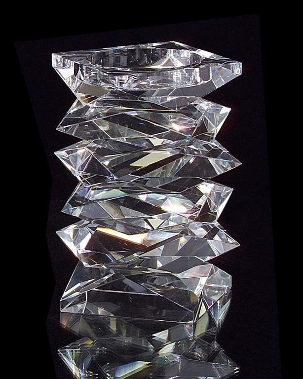 "8"" H Stacked Crystal Candleholder, Medium"