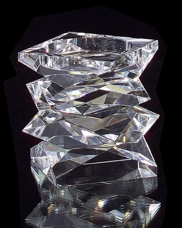 "Stacked Crystal Candleholder - Small, 5.5"" H x 6"" W x 6""D"