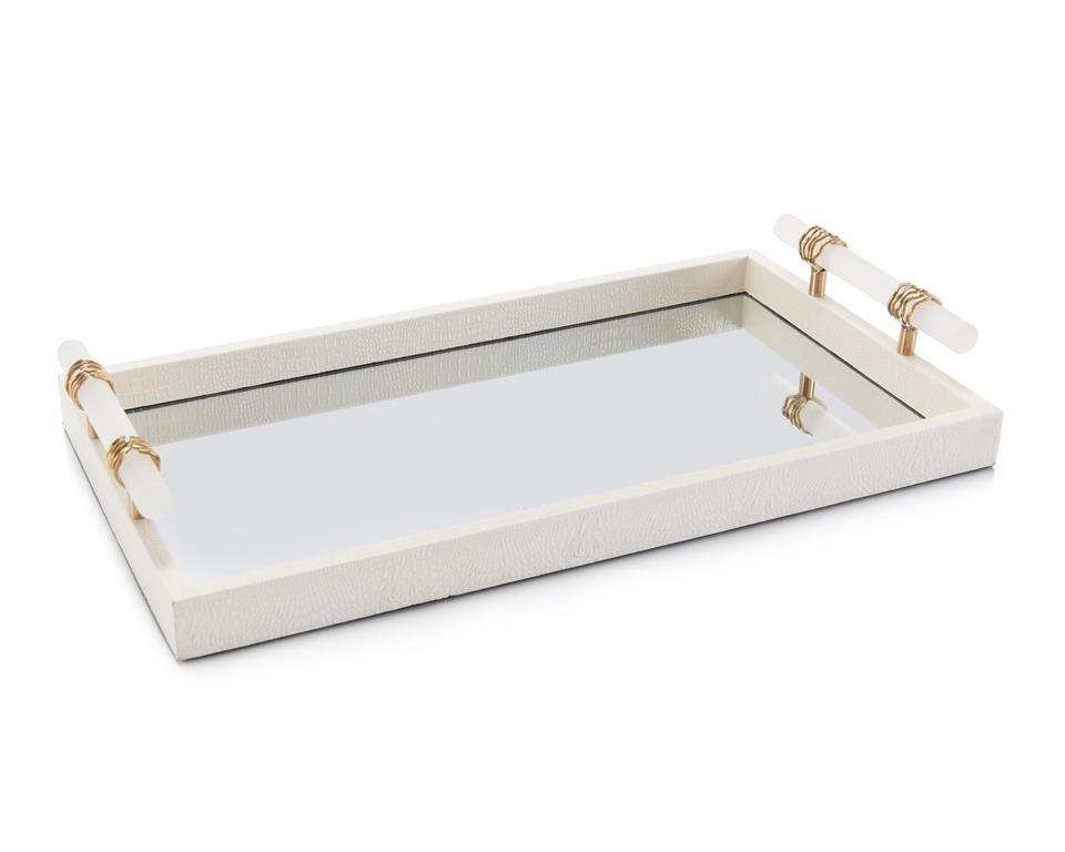 White Enameled Mirror Tray w/Alabaster Handles
