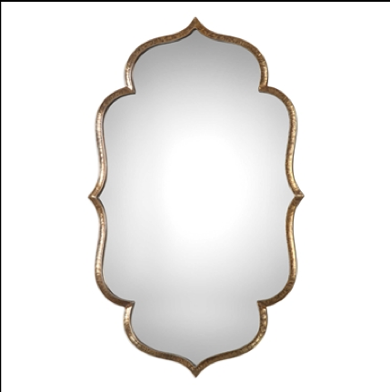 Zina Moroccan-inspired Decorative Mirror w/Hammered Antique Metallic Gold Border