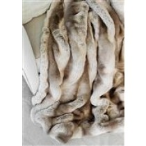 Chinchilla-Truffle Faux Fur Throw