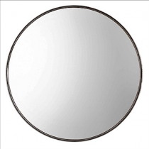 Agoura Round Decorative Mirror with Antique Metallic Silver-Leaf Frame