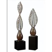 Annice Glass/Wood Sculptures, Set/2