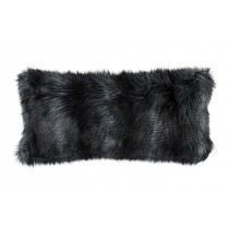 BLACK FUR LG. RECTANGLE PILLOW 14X30