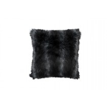 BLACK FUR SQUARE PILLOW 24X24